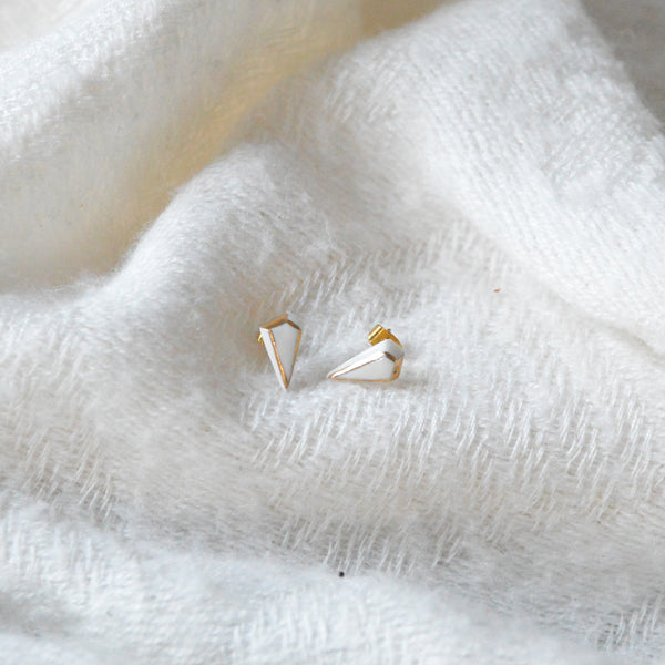 White & Gold Porcelain Diamond Earrings
