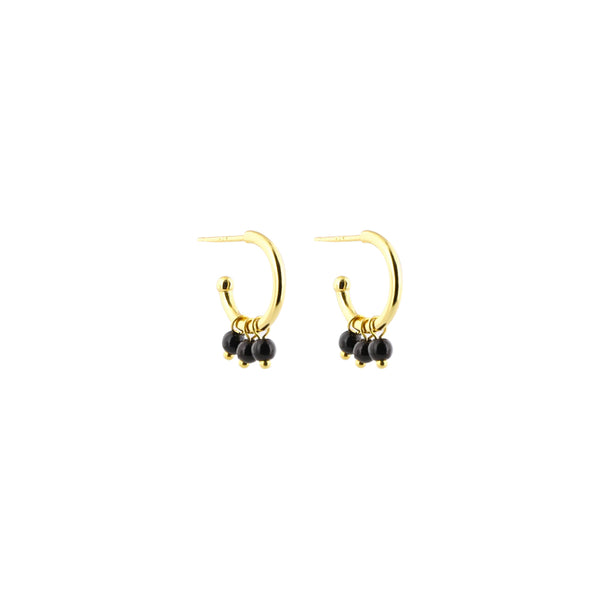 Black Beads Creoles Earrings