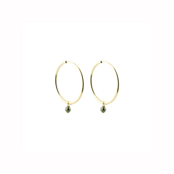 Green Japanese Akoya Pearls Small Hoops Earrings