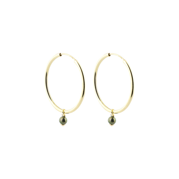 Green Japanese Akoya Pearls Hoops Earrings