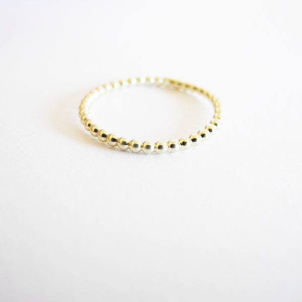 Thin Beaded Gold Ring