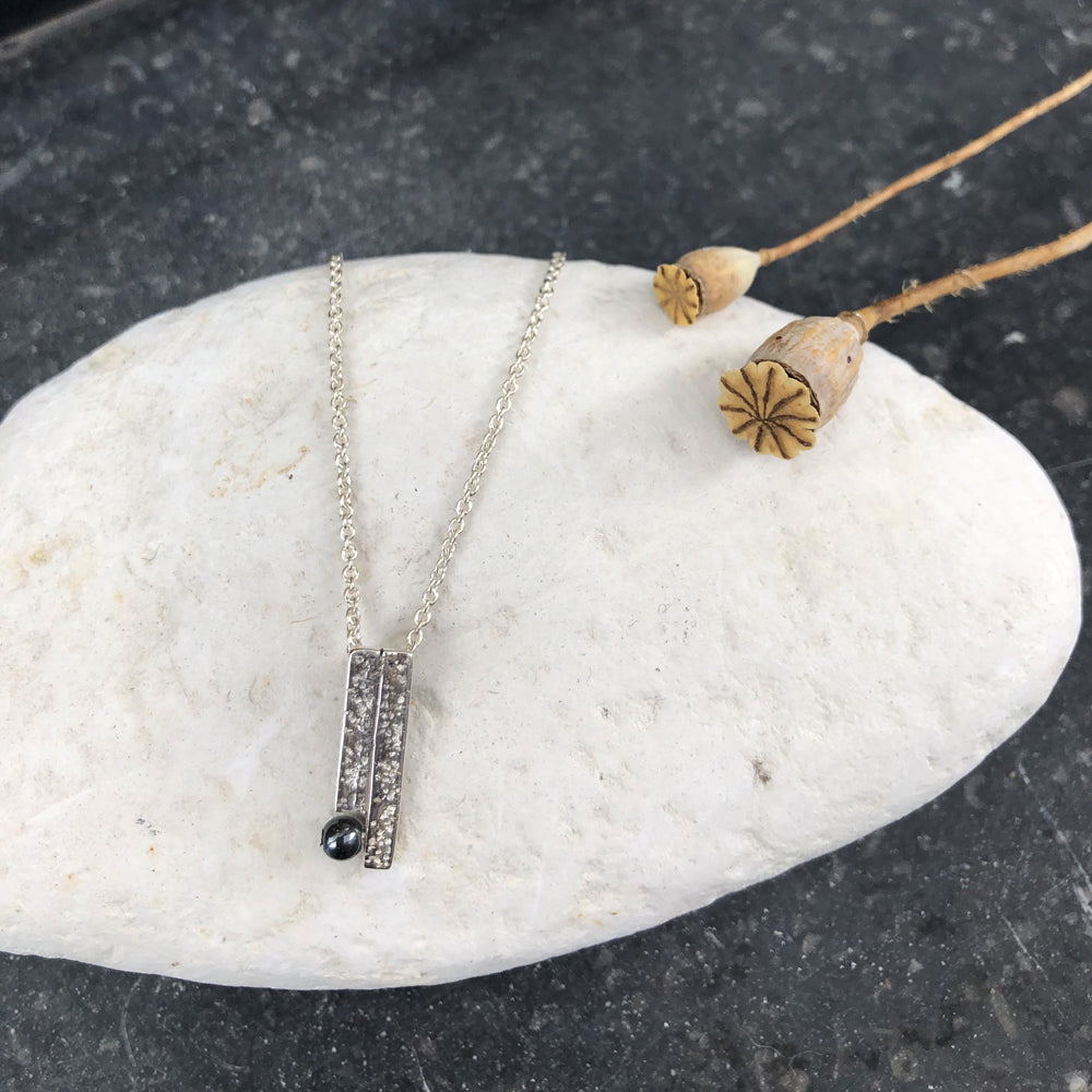 Textured Bar Silver & Onyx Necklace