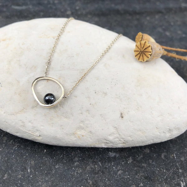 Pebble & Onyx Silver Necklace