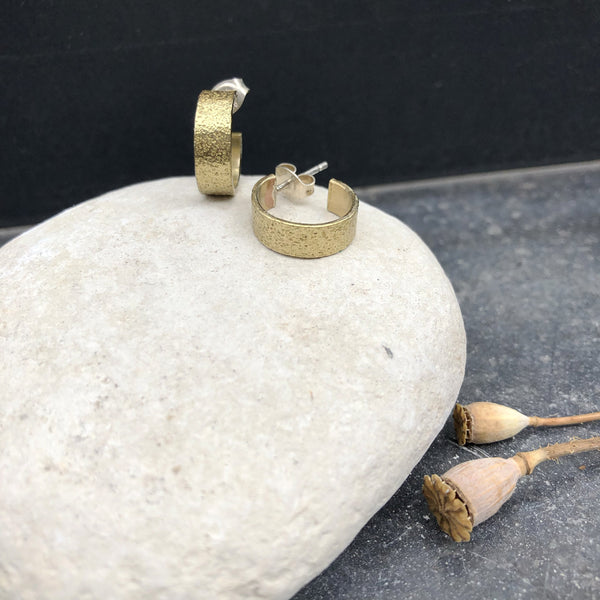 Textured Creole Brass Earrings