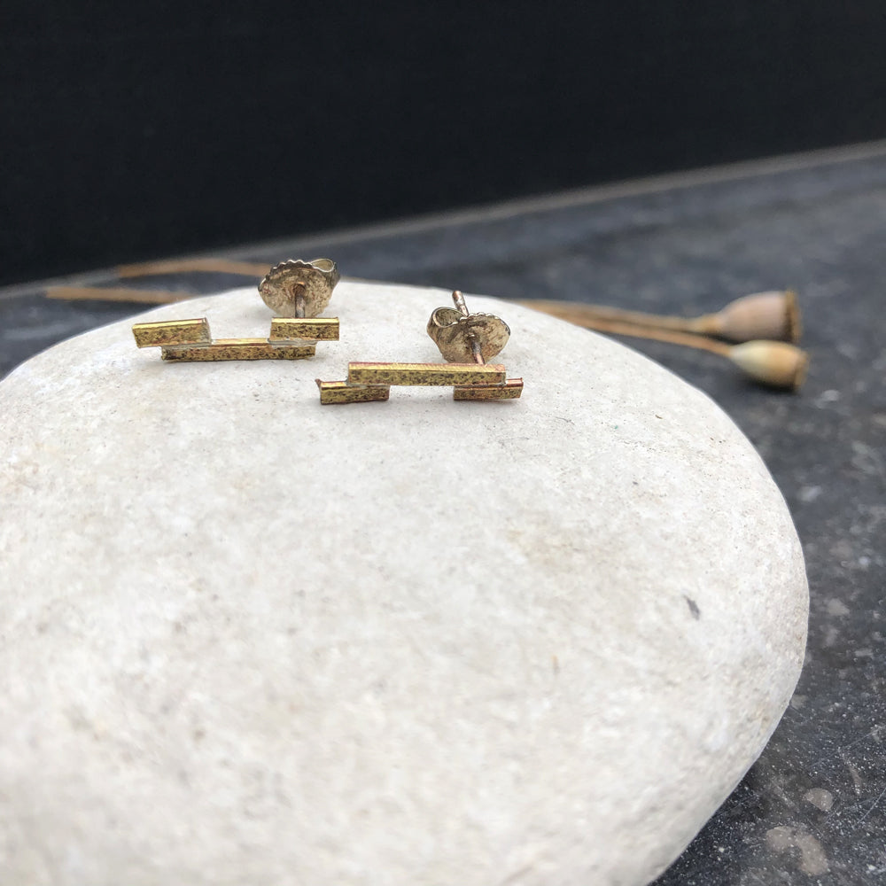 Asymmetric Textured Bar Brass Earrings