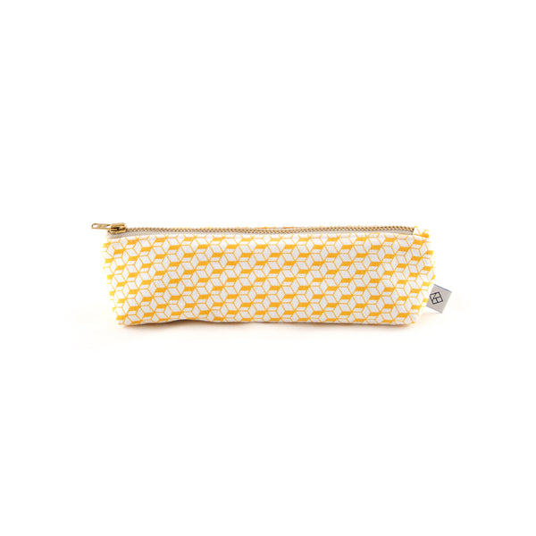 White & Yellow Pencil Case