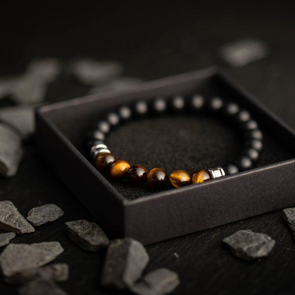 Melas Black/Tiger Eye Stones Bracelet