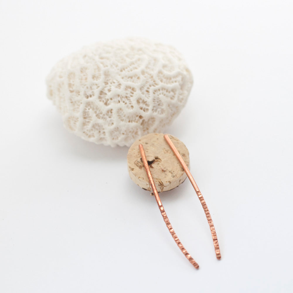 Long Bar Copper Earrings