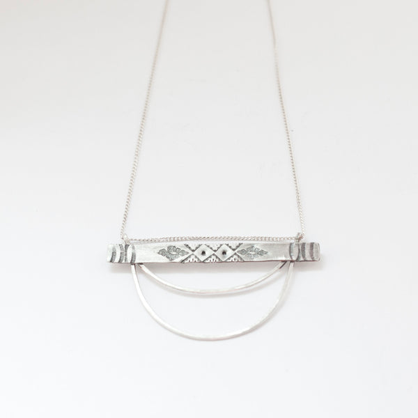 Long Geometric Silver Necklace