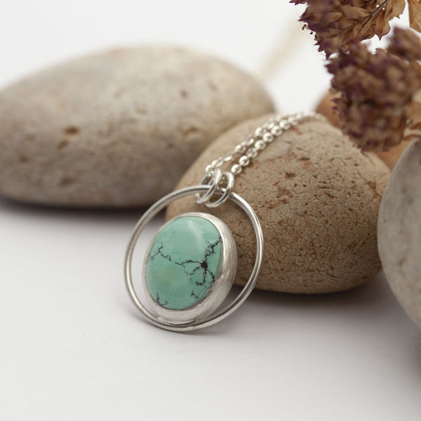 Turquoise Stone Silver Necklace
