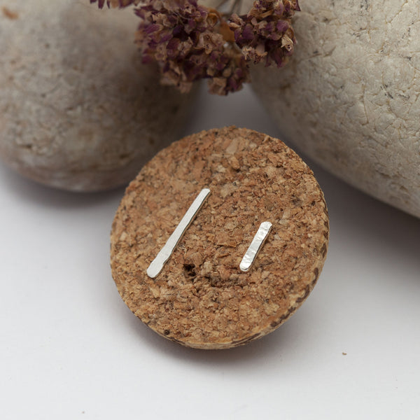 Asymmetric Bar Silver Earrings