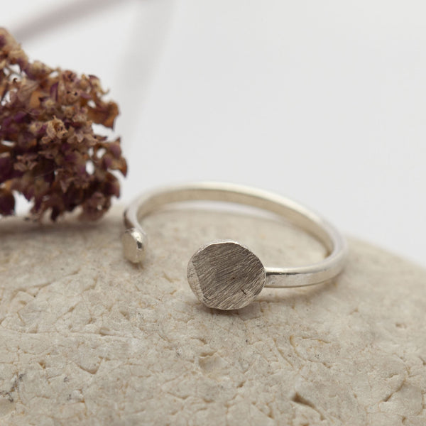 Textured Disk Open Silver Ring