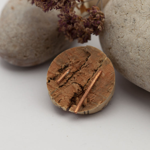 Asymmetric Bar Copper Earrings
