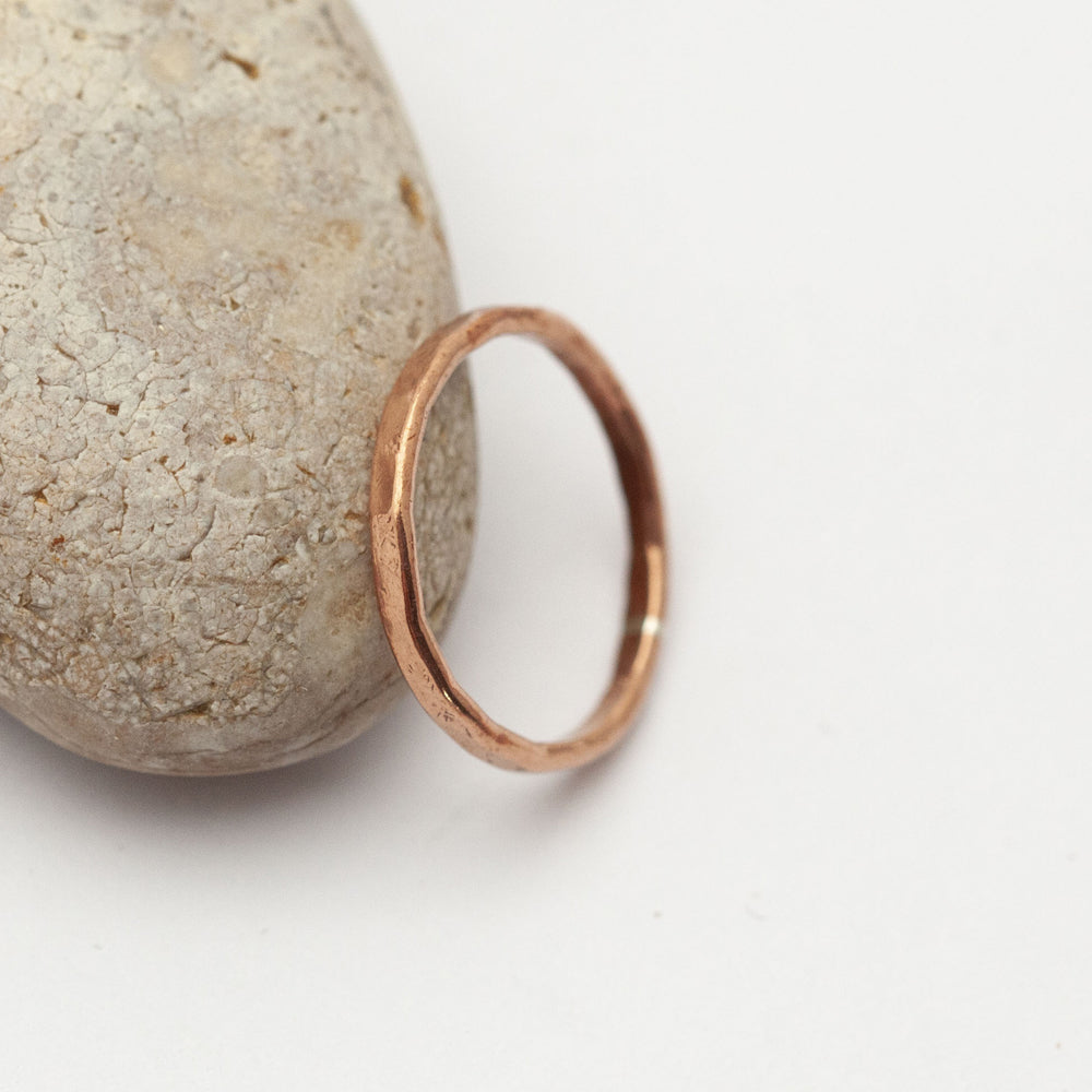 Thin Hammered Copper Ring