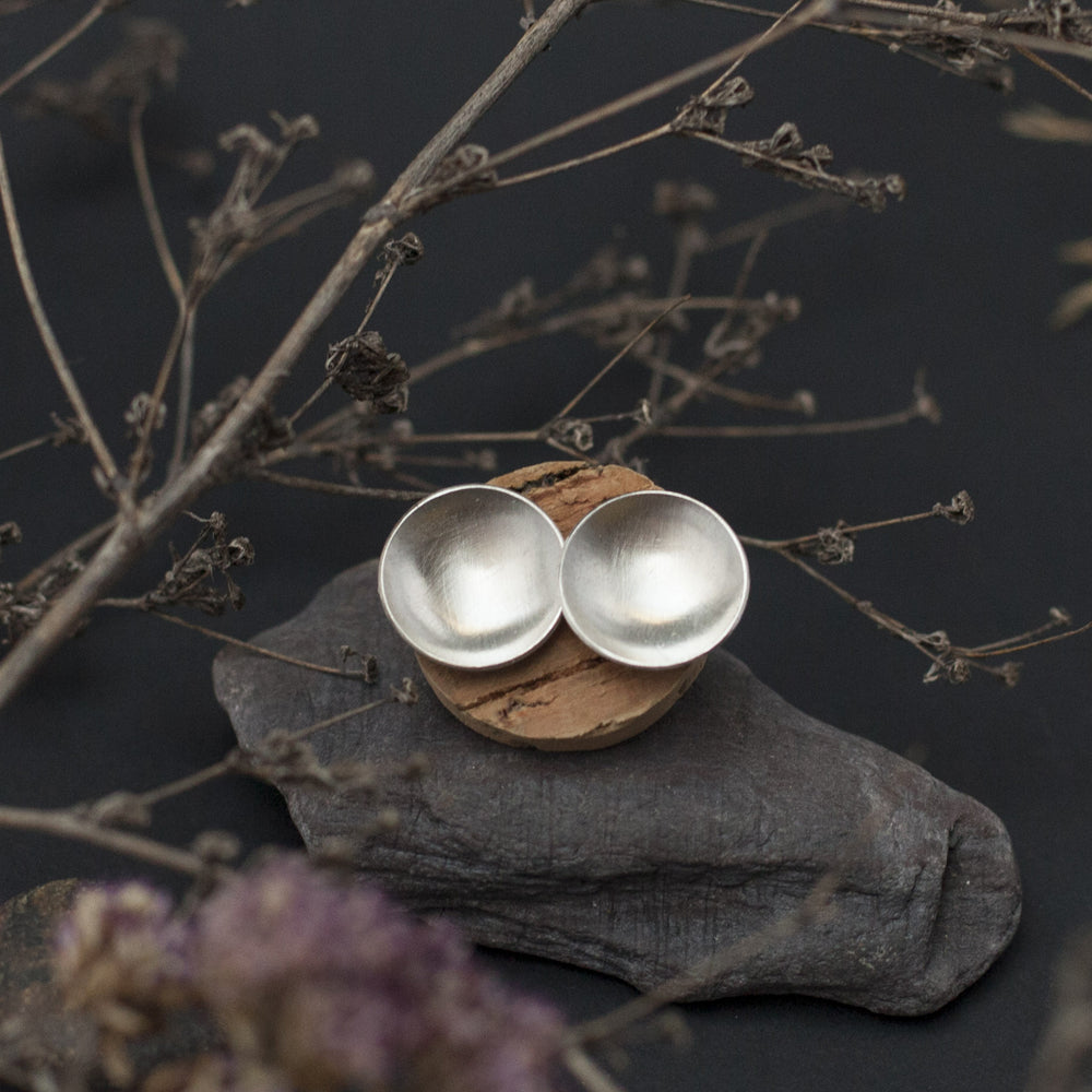 Disk Silver Earrings