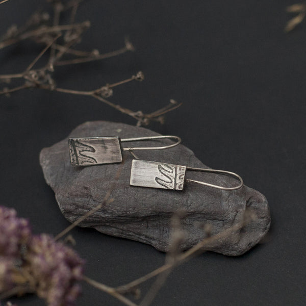 Vegetable Rectangle Silver Earrings
