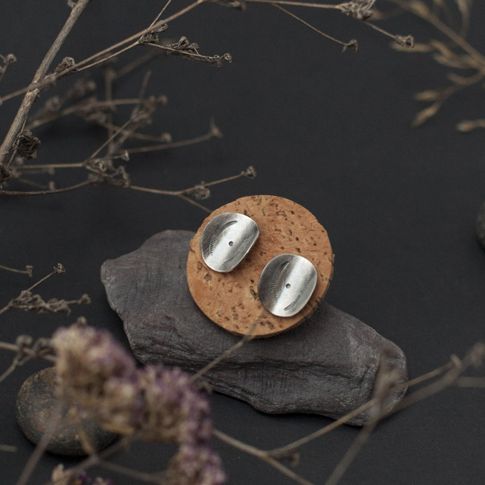 Etnic Curved Disk Silver Earrings