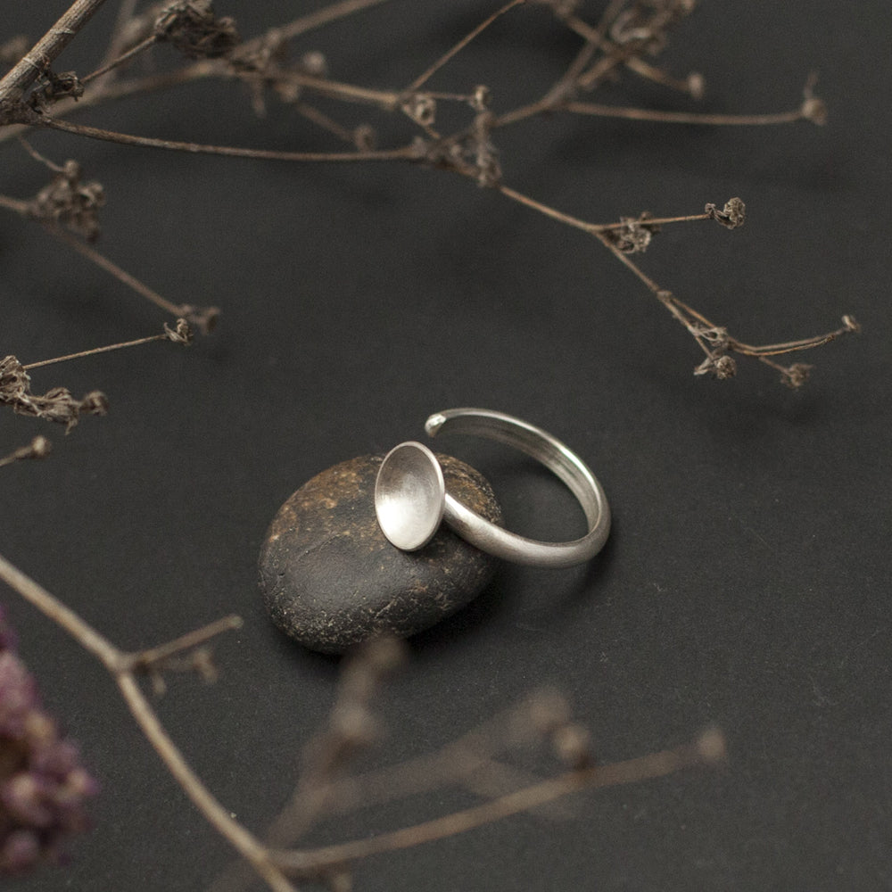 Disk Open Silver Ring
