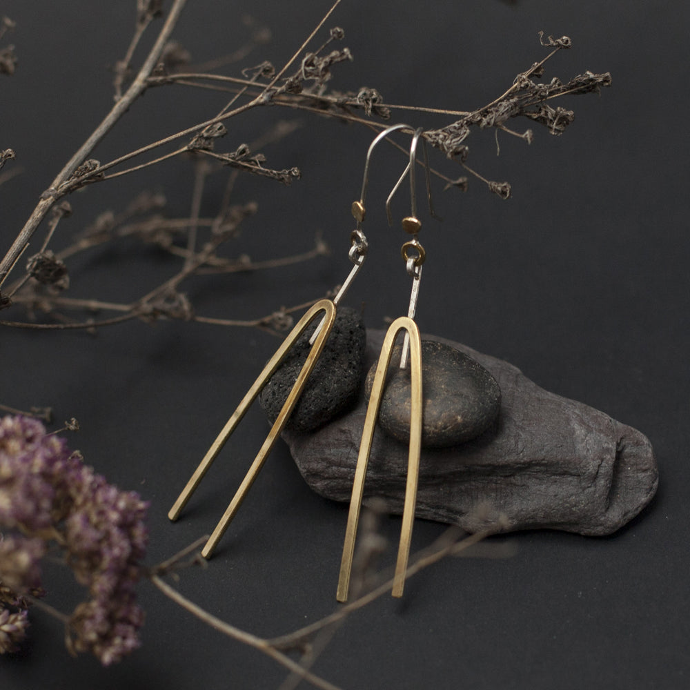Geometric Silver & Brass Earrings