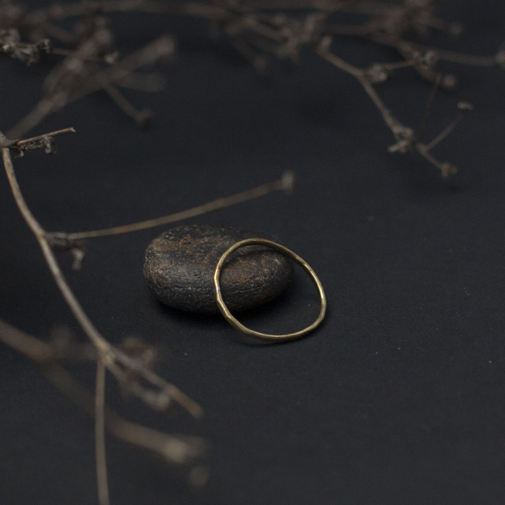 Thin Hammered Brass Ring