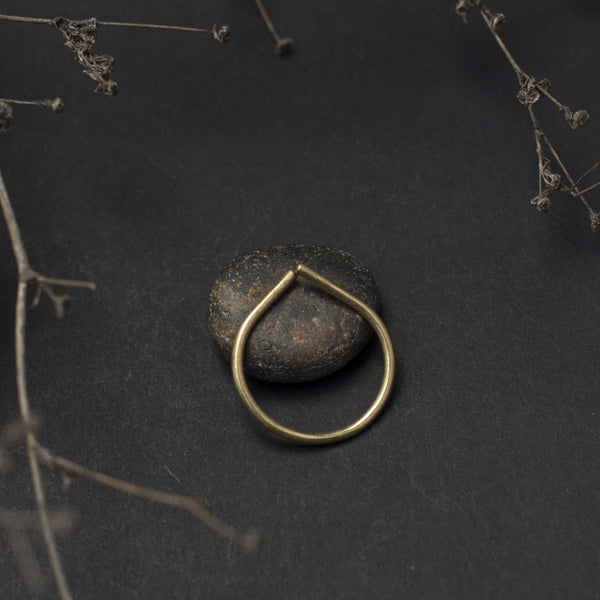 Thin Drop Open Brass Ring