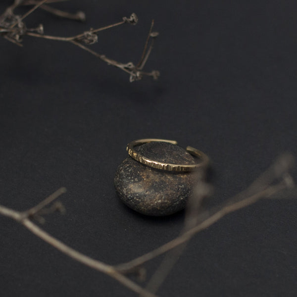 Thin Textured Open Brass Ring