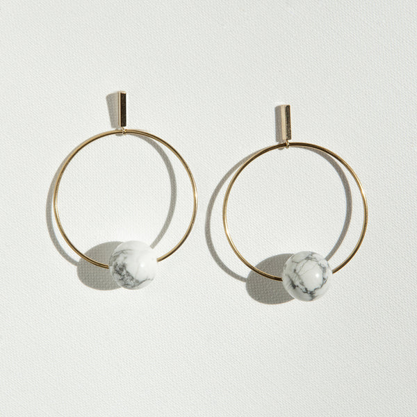 Big Circle Stone Earrings