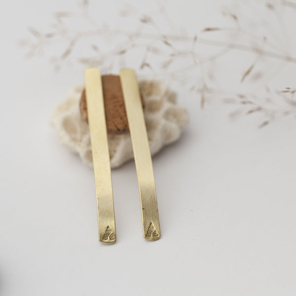 Long Etnic Bar Brass Earrings
