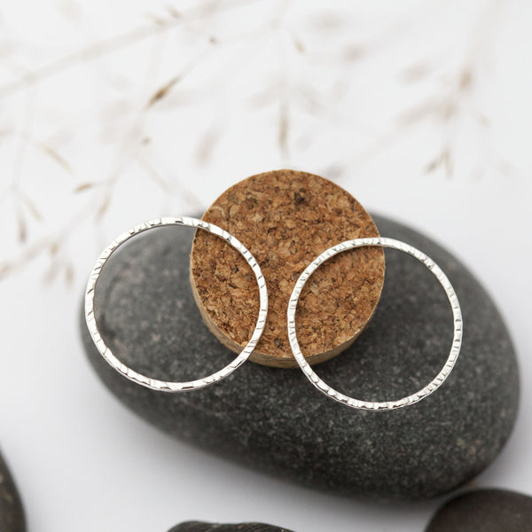 Textured Circle Silver Earrings