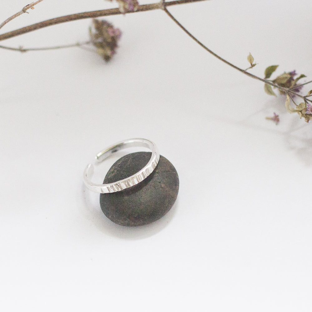 Textured Open Silver Ring