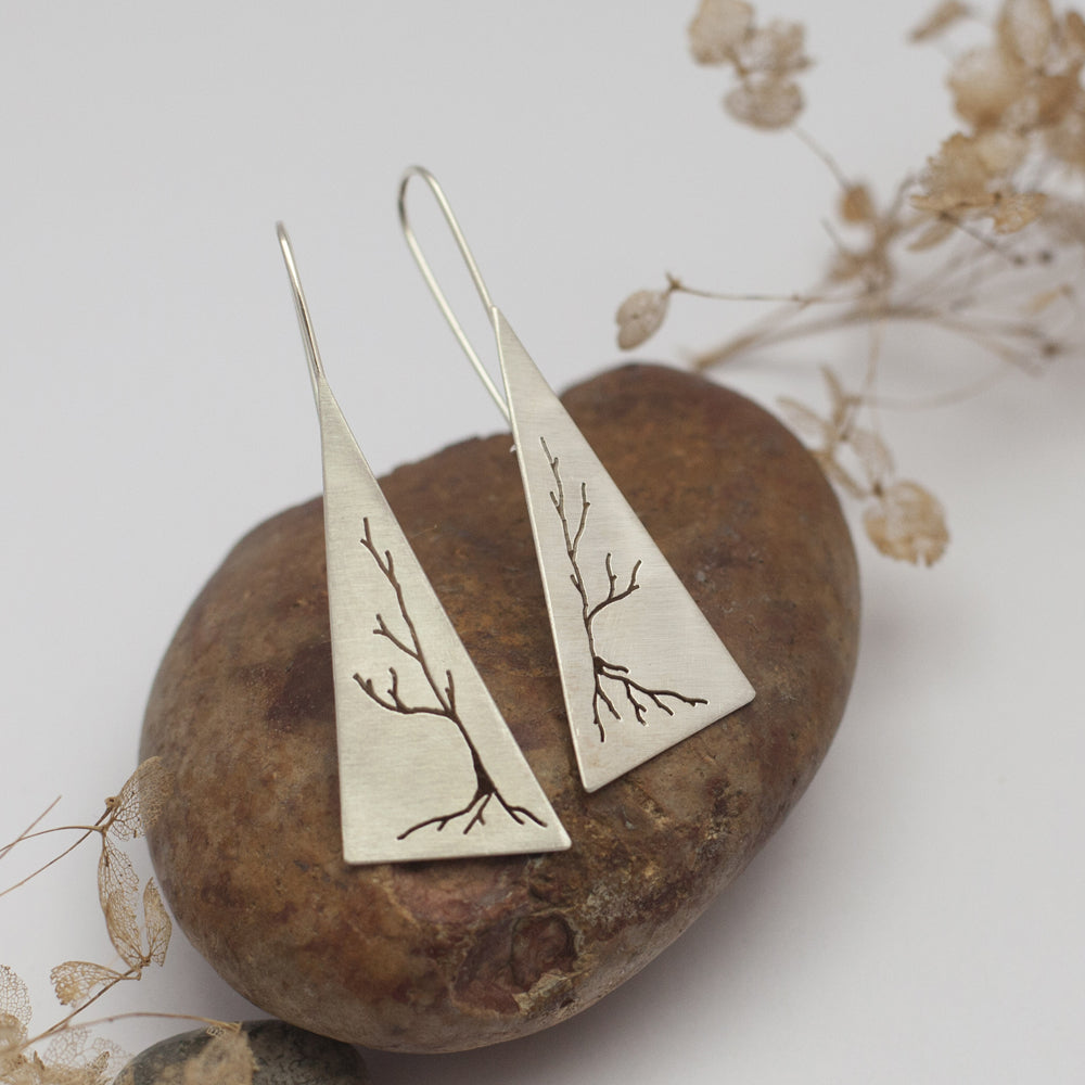 Vegetable Triangle Silver Long Earrings
