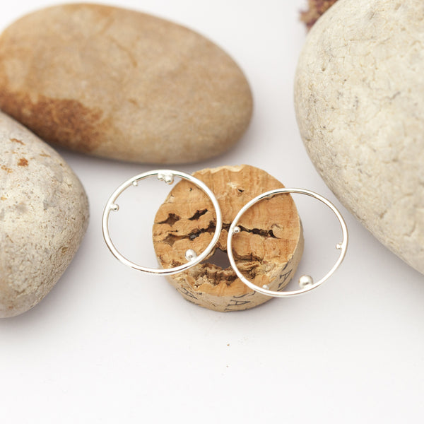 Circle & Tiny Ball Silver Earrings