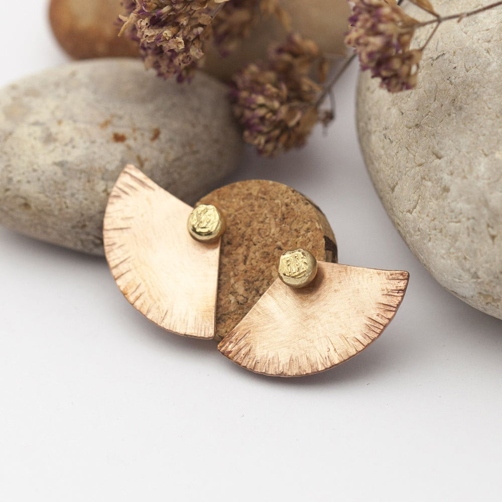 Ear Jacket Imprint Fern Copper & Brass Earrings