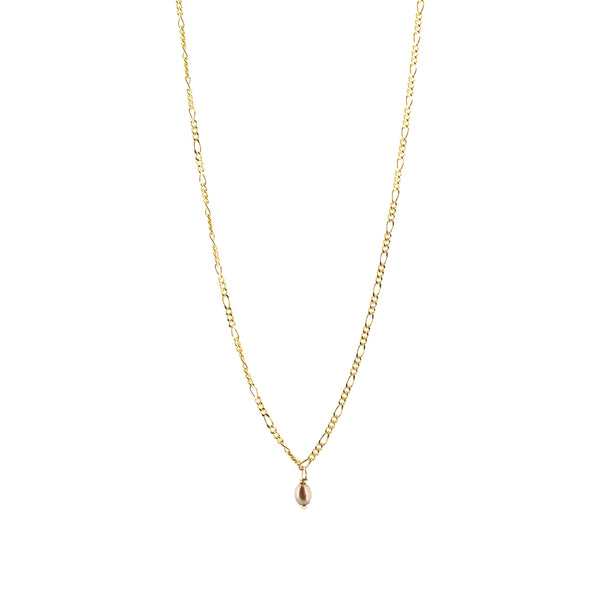Thin Figaro Chain & Chocolate Pearl Necklace