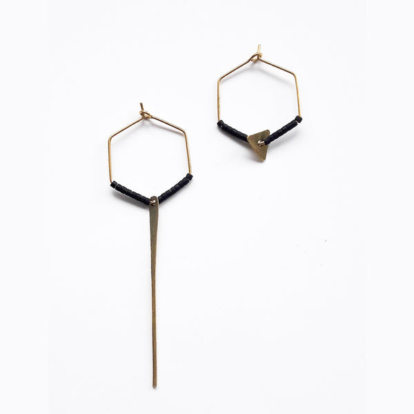 Hexagonal Asymmetric Earrings