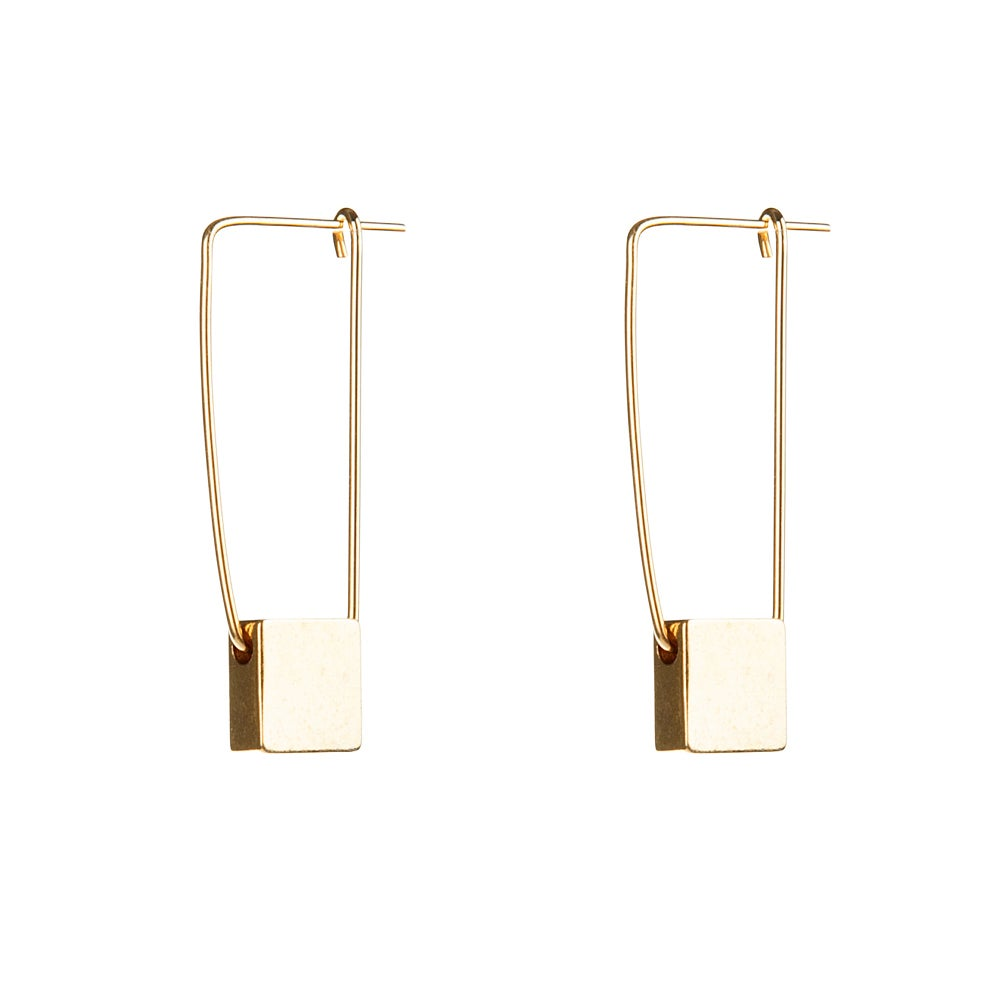 Gold Cube Earrings