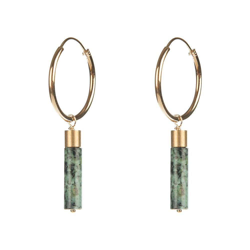Jasper Cylinder Hoops Earrings
