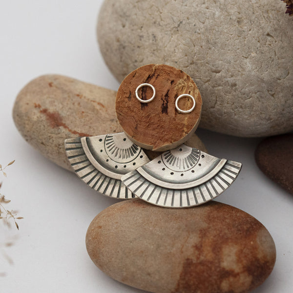 Ethnic Ear Jacket Silver Earrings