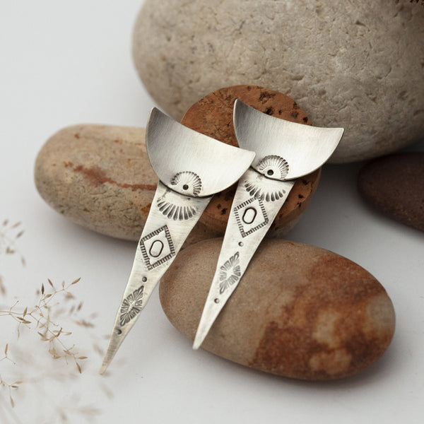 Ethnic Triangle & Half Curved Disk Silver Earrings
