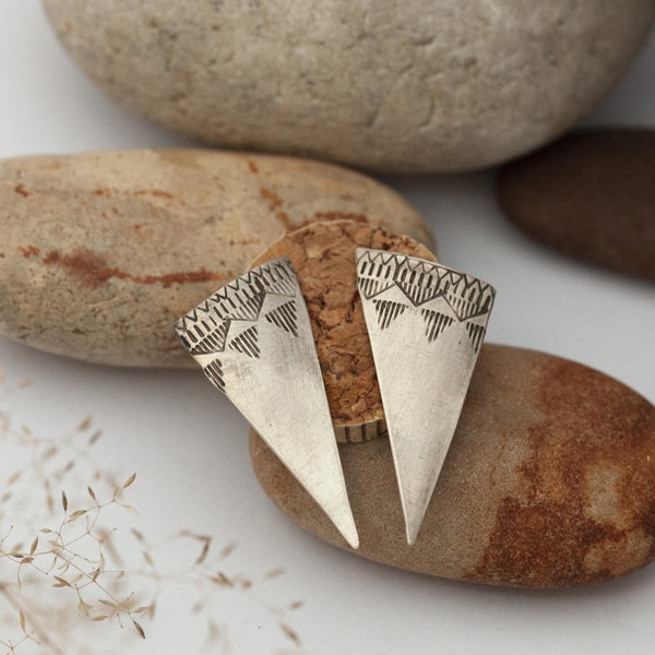 Ethnic Triangle Silver Earrings