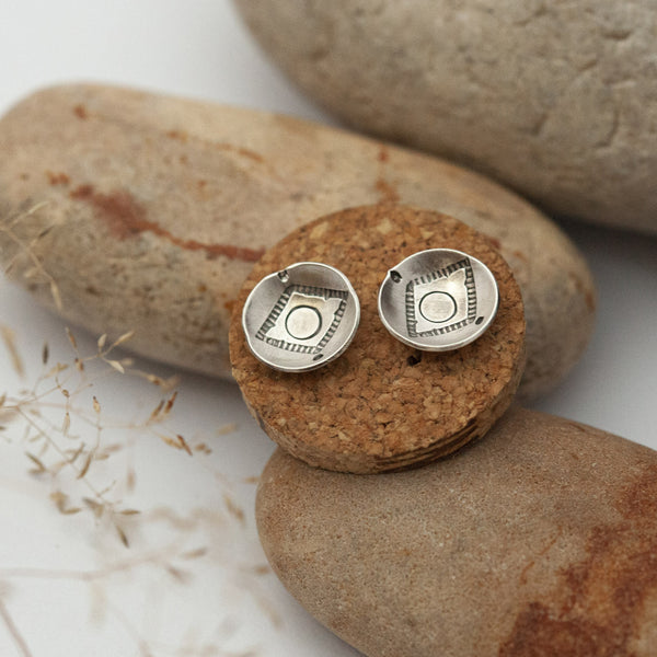 Ethnic Curved Disk Silver Earrings
