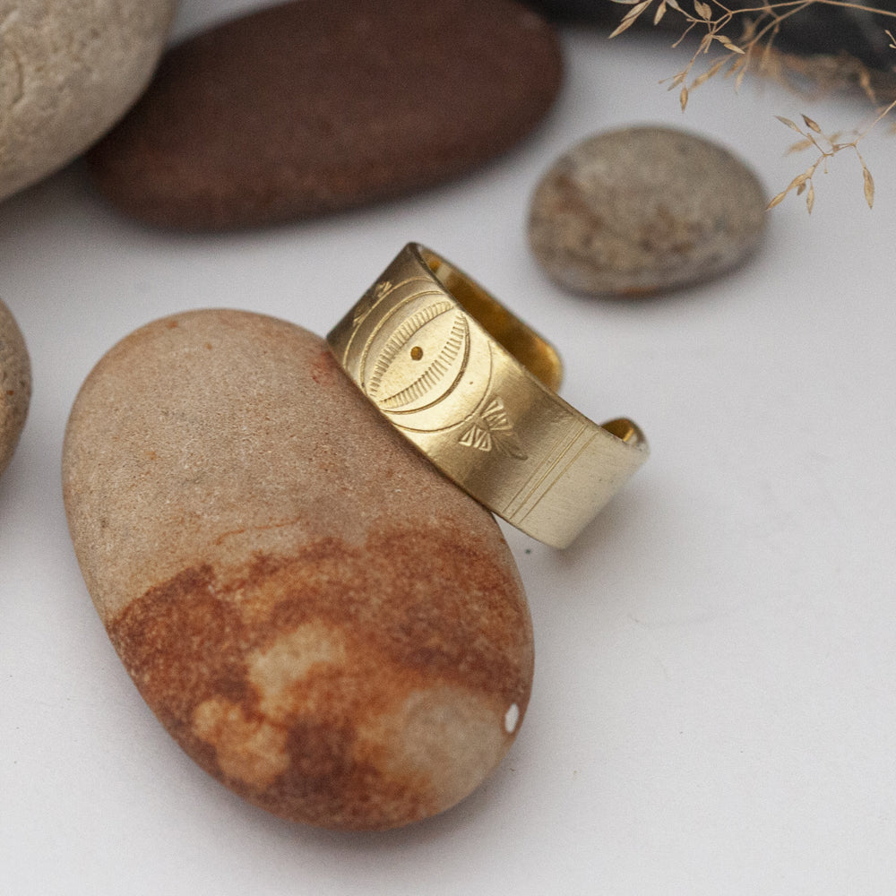 Large Ethnic Open Brass Ring
