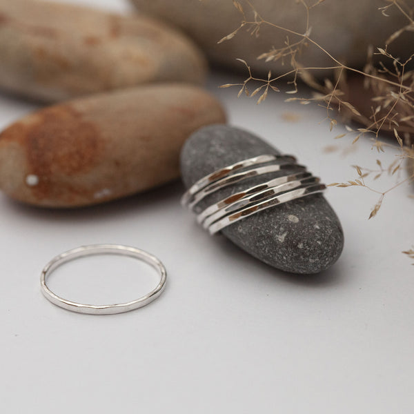 Thin Hammered Silver Ring