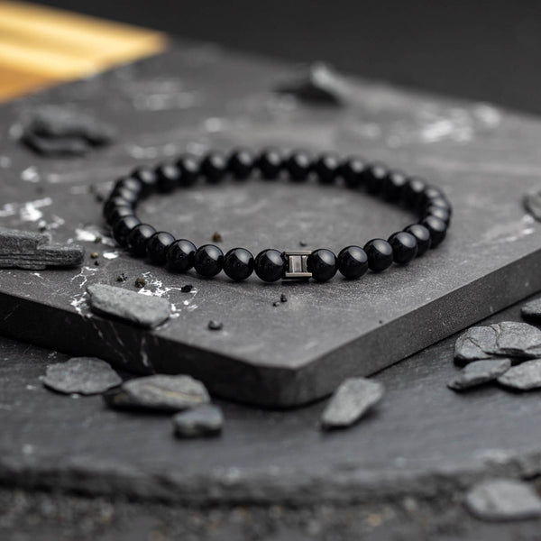 Deep Black 6mm Stones Bracelet