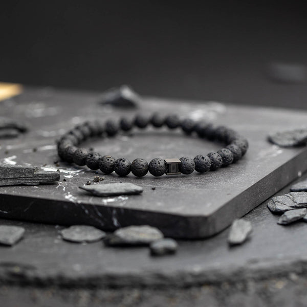Deep Black Lava 6mm Stones Bracelet