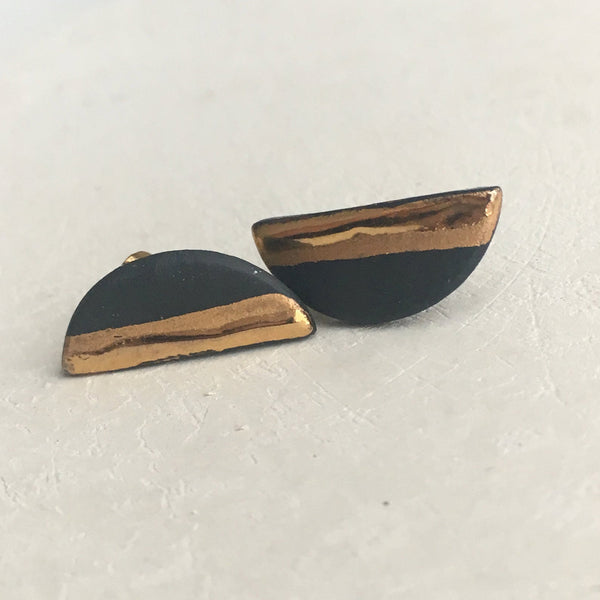 Black & Gold Porcelain Earrings