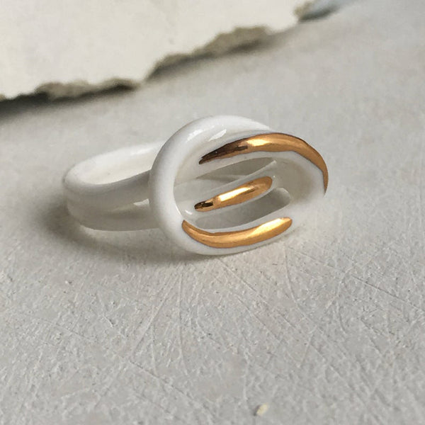 White & Gold Porcelain Ring