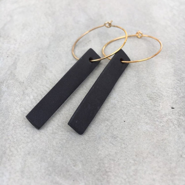 Black Porcelain Long Earrings
