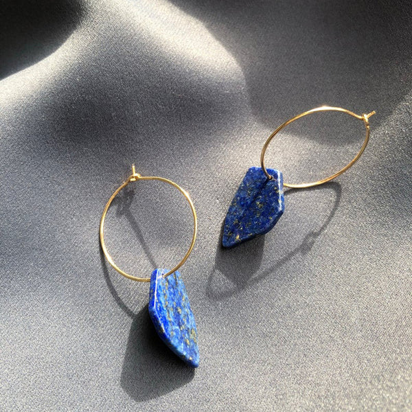 Irregular Hexagone Stone Earrings