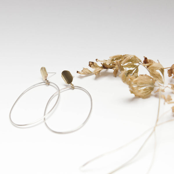 Silver & Brass Long Oval Earrings